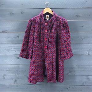 TULLE 3/4 Sleeve Coat Purple Pink Size XL
